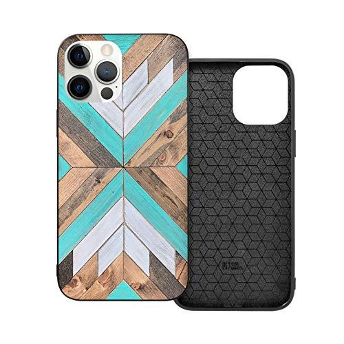 Compatible con iPhone 12 Pro Max 6.7 pulgadas, madera rústica, puertas de granero, suave, antideslizante, TPU