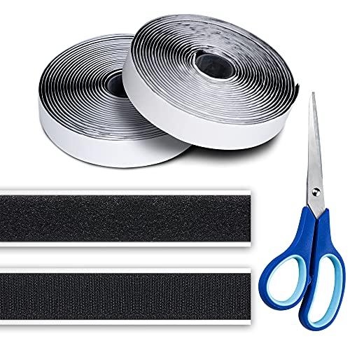 Belcro Adhesivo Fuerte, VIBIRIT 5M Auto Adhesivo Cara Cintas adhesivas de tela Reutilizable Tiras Hook y Loop Bandas para Oficina Doméstica Bricolaje (Negro, 2 Rollos, Con Tijeras)