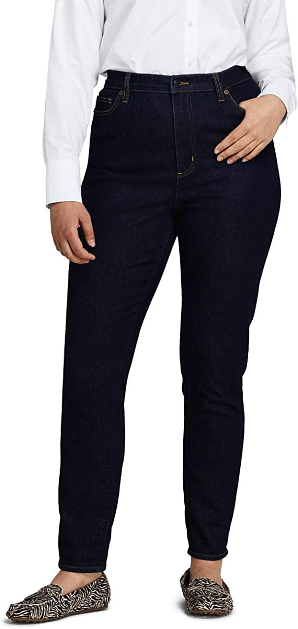 Lands' End Women's High Rise Straight Leg Ankle Jeans - Blue