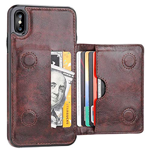 KIHUWEY iPhone Xs Max Wallet Case with Credit Card Holder, Leather Kickstand Durable Shockproof Protective Hidden Magnetic Closure Cover for iPhone Xs Max 6.5 Inch(Brown)