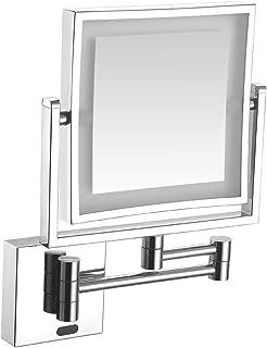 الجدار جبل فانيتي ماكياج مرايا الإنسان الجسم الاستقراء مزدوجة الوجهين 1x، 3X التكبير الحمام الحلاقة مرآة التجميل