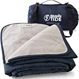 Brawntide Large Outdoor Waterproof Blanket - Quilted, Extra Thick Fleece, Warm, Windproof, with Shoulder Strap, Ideal Stadium...