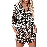 FAYHRH Mujer Verano Pijama Cómodo,Ropa de casa con Estampado de Leopardo, Pantalones Cortos de Solapa con Estampado de Traje-Leopard_M