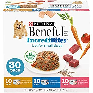 Purina Beneful Small Breed Wet Dog Food Variety Pack, IncrediBites with Real Beef, Chicken or Salmon – (30) 3 oz. Cans