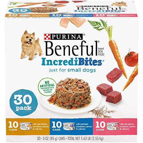 Purina Beneful Small Breed Wet Dog Food Variety Pack, IncrediBites with Real Beef, Chicken or Salmon - (30) 3 oz. Cans