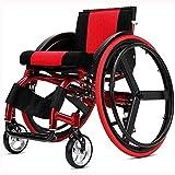 HWZLOIK Rollstuhl, Sport und Freizeit Rollstuhl Folding Licht Portable mit Ultra Light Aluminiumlegierung Schnellspanner Hinterrad Stoßdämpfer Trolley -