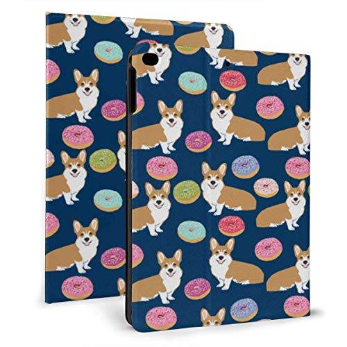 Ipad case Corgi Donuts Navy Blue Kids Cute Pet Dog Slim Lightweight Smart Shell Stand Cover Case for iPad 7th 10.2 inch