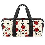 TIZORAX Little Mariquita Y Ploka Dots Gym Duffle Bag Drum Tote Fitness Travel Bag Rooftop Rack Bag