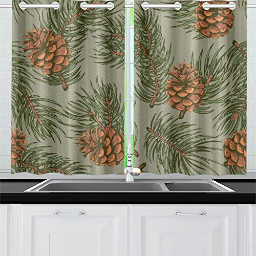 HYTCSY Country Curtains for Living Room Pine Cones Coniferous Evergreen Tree Curtain Window Lights Beautiful Window Curtains for Cafe Bath Laundry Living Room 26x39inch 2pieces