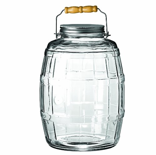 Anchor Hocking 2.5-Gallon Glass Barrel Jar with Lid, Brushed Aluminum, Set of 1