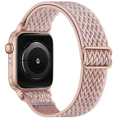 Correas de Reloj Correa de Reloj Pulsera de Nailon Correa Deportiva Trenzada Ajustable Bandas Elásticas Compatibles con iWatch para Apple Watch Band 40 mm 38 mm Arena rosa