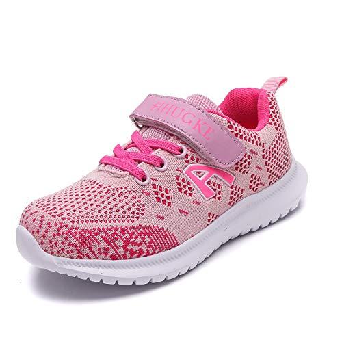 FIHUGKE Kinder Schuhe Sportschuhe Ultraleicht Atmungsaktiv Turnschuhe Klettverschluss Low-Top Sneakers Laufen Schuhe Laufschuhe für Mädchen Jungen, Rosa A, 36 EU