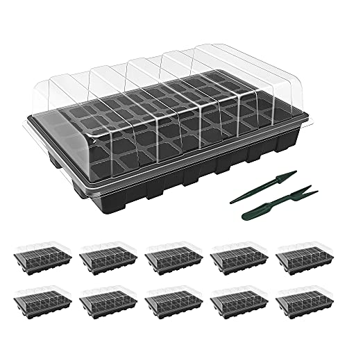 Gardzen 10-Set Garden Propagator Set, Seed Tray Kits with 400-Cell, Seed Starter Tray with Dome and Base 15' x 9' (40-Cell Per Tray)