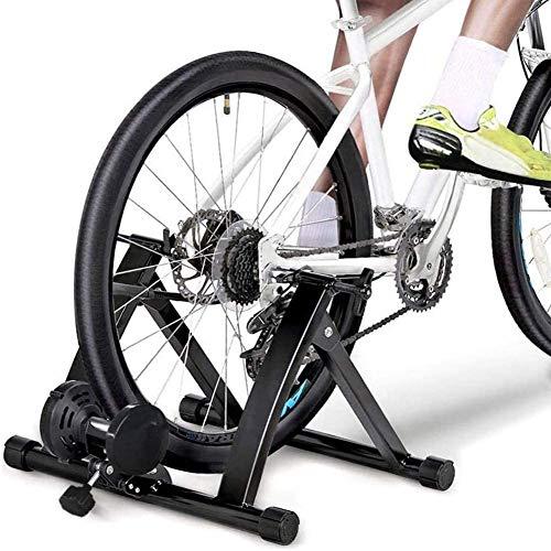JLDN Entraineur Magnétique Turbo de Vélo, Entraîneur à vélo Manette sans Fil silencieuse Réduction Home Trainer pour Vélos de Route et VTT,Black