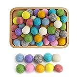 I LOVE MOM Kit Bola de Fieltro,50 Piezas Pompones de Colores Fieltro de Lana Bolas para Pulseras,Bolas para Hacer Collares Fieltro para manualidades Adultos y NiñOs (-6)
