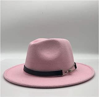 HAOHAO Fashion Men Women Fedora Hat Wool Felt Leather Belt Belt Cosmetic Hat Retro Wide-Breasted Gentleman Graceful Ladies Jazz Hat (Color : Pink, Size : 56-58CM)