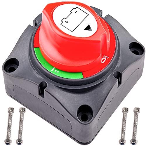LotFancy Batterie Trennschalter Hauptschalter Batterieschalter 6V 12V 24V 48V 60V für Auto Marine Boot Wohnmobil Wohnwagen, Wasserdichter Hochleistung