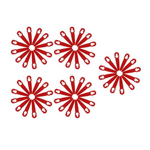 DOITOOL 50 cuchillas cortadoras de jardín cortadora de césped de plástico hoja de repuesto para cortacésped Stihl PolyCut 2-2 rojo