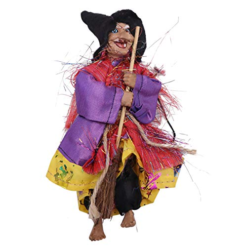 FENICAL Halloween Resina Bruja Horror Colgando Volando Figura de Bruja Accesorios de jardín Bruja Miniatura para Fiesta de césped (Amarillo)