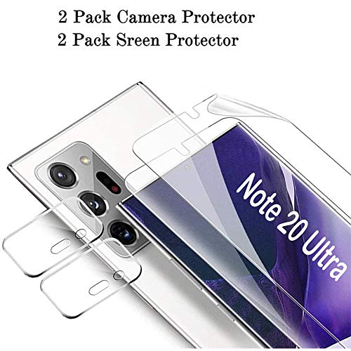 MAXKU 2Stück Samsung Note 20 Ultra 5G Kameraobjektive Panzerglasfolie Panzerglas Schutzfolie +2Stück Galaxy Note20 Ultra Bildschirmschutzfolie Schutzfolie High Sensitive Full Coverage Flexible TPU-Folie