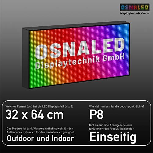 LED Vollfarbig RGB P8 (8 mm Pixelabstand) Laufschrift Lauftext Außenwerbung LEUCHTREKLAME WLAN Einseitig (32 x 64 cm)