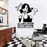 jiuyaomai Pegatinas de Pared de peluquería Citas para seducir secadores de Pelo Tijeras Pegatinas de Pared para decoración de salón de Belleza Decoración de Pared de PVC D45x40cm