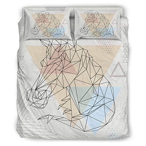 WellWellWell Juego de cama de 4 piezas con diseño de unicornio arcoíris...