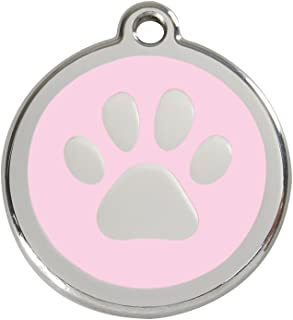 K9 Palace Red Dingo Stainless Steel with Enamel Pet I.D. Tag - Paw Print