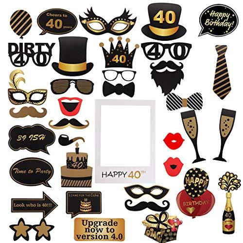 Amycute 40 Anni Compleanno Foto Props, Selfie Cornice Puntelli Fotoe DIY Maschere Foto Props Festa di 40 Anni Compleanno Decorazioni per Uomo o Donna (40)