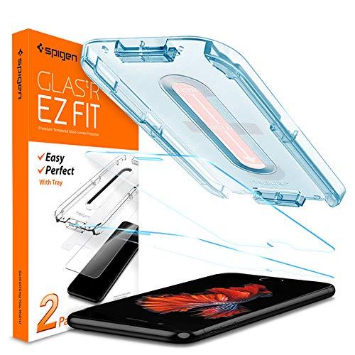 Spigen Glas.tR EZ Fit Panzerglas kompatibel mit iPhone 8 Plus, iPhone 7 Plus, 2 Stück, Kratzfest, 9H Härte Schutzfolie