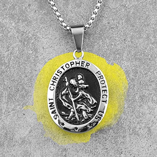 Naswi St.Christopher Religion Stainless Steel Men Necklaces Pendants Chain Punk for Boyfriend Male Jewelry Creativity Gift 60cm