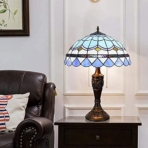 Tiffany Style Lámpara de mesa de 16 pulgadas Lámpara de cristal azul de 16 pulgadas Tonos de la lámpara de escritorio de decoración mediterránea vintage para sala de estar Barra de dormitorio