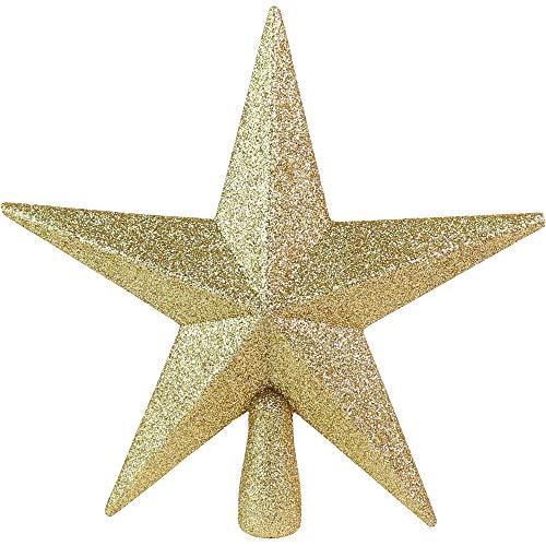 Ornativity Glitter Star Tree Topper - Christmas Gold Decorative Holiday Bethlehem Star Ornament