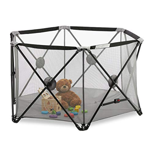 Relaxdays Laufgitter faltbar, für Kinder, In-& Outdoor, tragbar, 6-eckig, Reise, Laufstall Baby, 72x128x110 cm, grau, 1 Stück
