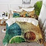 Juego de cama, microfibra,Grunge, coloridos círculos enrrollados estilo contemporáneo manchado textura elementos abstractos gráfico, ,1 juego de funda nórdica 240 x 2602 fundas de almohada 50x80cm
