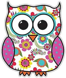 Owl Sticker Pink Floral Decal by Megan J Designs - Laptop Window Car Vinyl Sticker