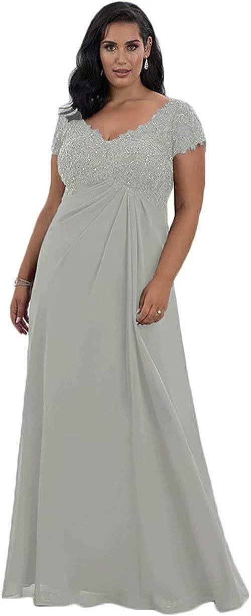 Mother of The Bride Dresses Lace Sequins Plus Size Chiffon Maxi Wedding Guest Dresses Evening Gowns