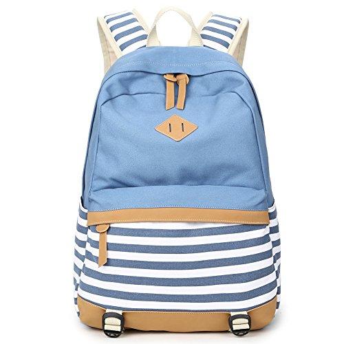 Donykarry Mädchen Schulrucksack Damen Canvas Rucksack Jugendliche Große Schultasche Outdoor Freizeit Daypack mit Moderne Streifen Muster (Hellblau)