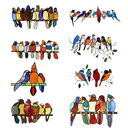 WSAD Vidrio De Vidrieras Colgadoras Pegatinas De Pájaro Pájaros Multicolor Pájaros Papeles De Pantalla Etiquetas Decorativas De Vidrieras Colgando para Puertas De Windows Decoración del Hogar