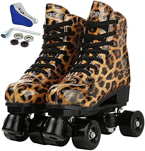 YYW Women's High material Roller Skate Leopard Complete Free Shipping Leather Double- PU