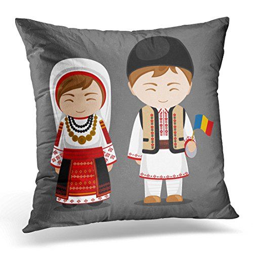 Sdamas Decorative Pillow Cover Romanians in National Dress with Flag Man and Woman Traditional Costume Travel to Romania People Flat Throw Pillow Case Square Home Decor Pillowcase 16x16 Inches