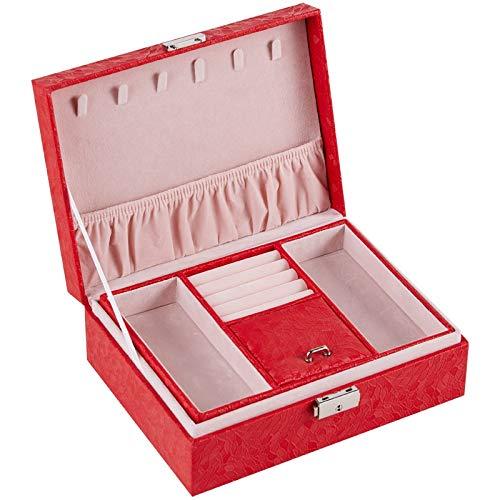 MUY Caja de joyería Grande de Lujo de Dos Pisos Caja de joyería de Terciopelo Espacioso Caja de exhibición de Anillo de Almacenamiento Pulsera de Cuero de PU Espacio Collar de Pascua