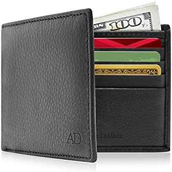 REAL LEATHER Slim Bifold Wallets For Men - Minimalist Card Holder Thin Mens Wallet RFID Gifts For Him