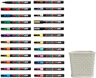 三菱鉛筆 uni ポスカ 水性マーカー 細字丸芯 PC-3M-24C 全24色組み ペンスタンド付