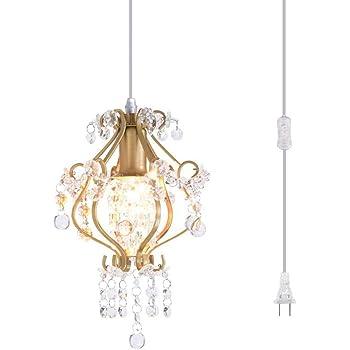 Surpars House Elegant Mini Chandelier Plug in Crystal Pendant Light,Golden