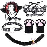 Beefunny Cat Cosplay Kostüm - Cosplay Cat Kitten Schwanz Ohren Set Kragen Pfoten Handschuhe Lolita...