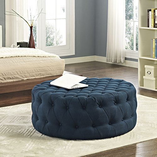 Modway Amour Fabric Upholstered Button-Tufted Round Ottoman in Azure