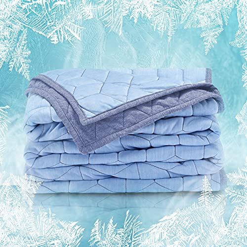 SLEEP ZONE Athlete-Grade Cooling Throw Blanket Reversible Lightweight Breathable Jersey Cotton Cool...