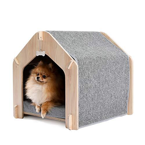 [Amazonブランド] Umi(ウミ) - 木製犬小屋 犬ハウス 組立式 省スペース 高級感 マット付き コード通す穴付き 湿気防止 広い