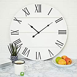 Large White Wall Clock - 21 Inches - Wooden - Shiplap - Farmhouse Decoration - Roman Numerals - Rustic Barn - Shabby Chic - Sleek, Simple, Clock - Big Classic Decor - Battery Operated